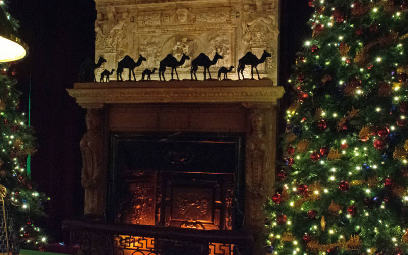 Fireplace and decorated Christmas trees