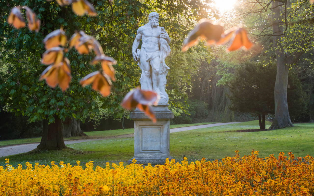 statue surrounded by autumn leaves