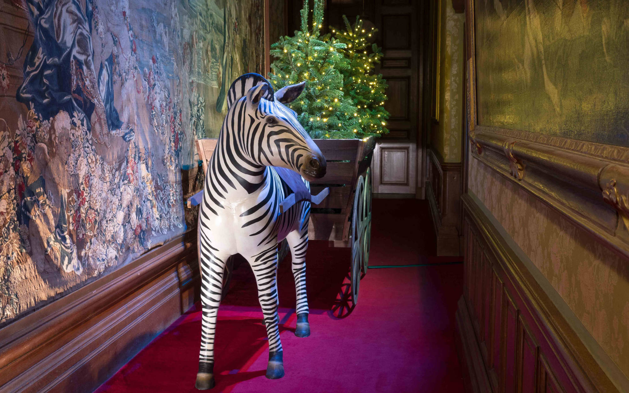Christmas decoration zebra pulling a cart