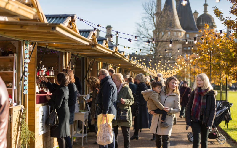 People visiting Waddesdon's christmas fair