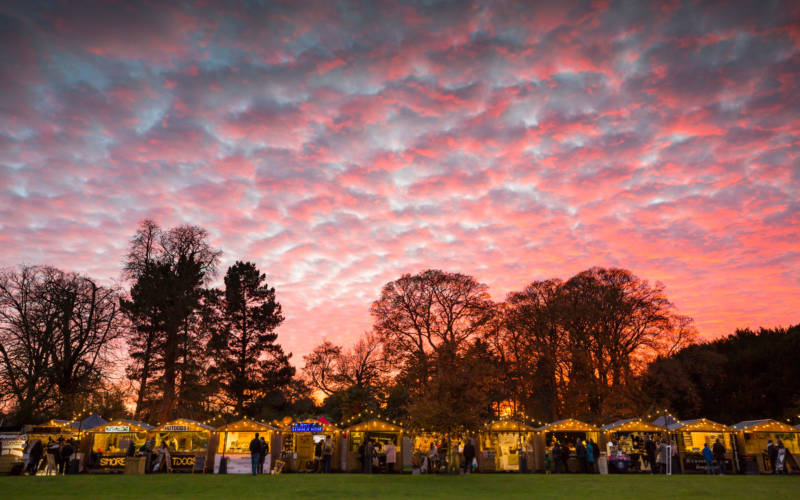 Waddesdon christmas fair with beautiful sky