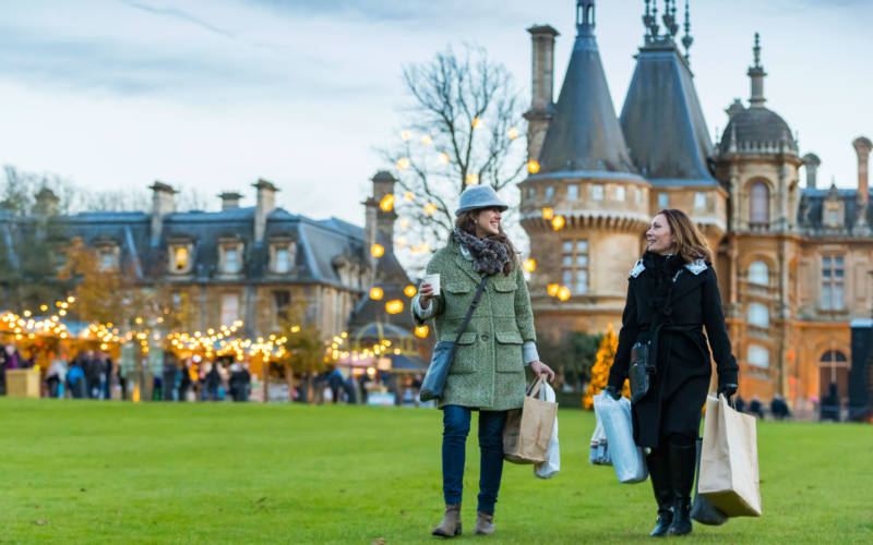 Visitors enjoying Waddesdon's christmas fair