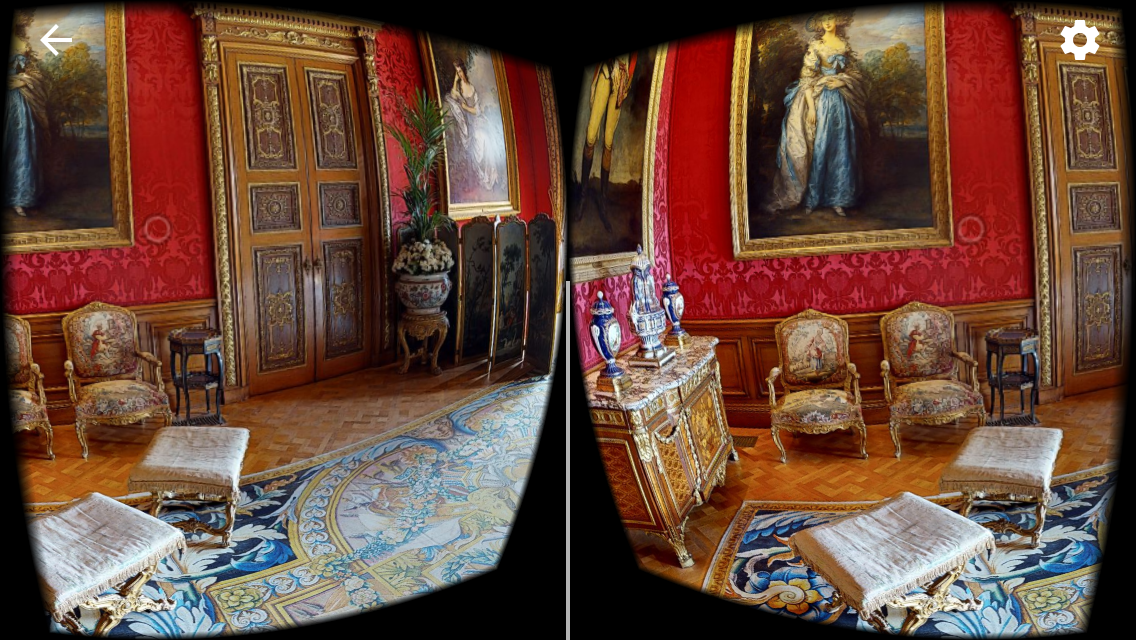 View of the Red Drawing Room through a VR headset