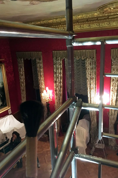 Birdseye view of the Red Drawing Room from a scaffold