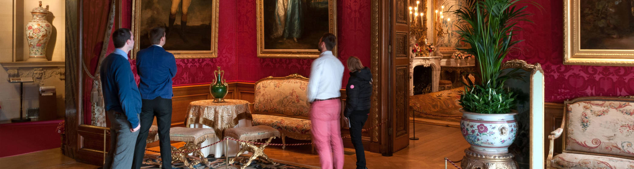 Visitors in the Red Drawing Room