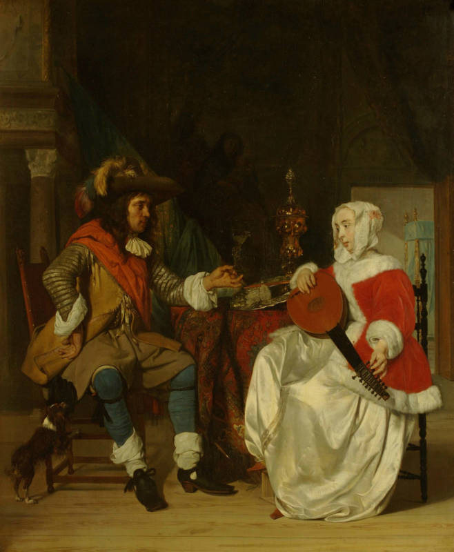 Gabriel Metsu, The Tête-à-Tête: A Lady Playing a Lute, and a Cavalier, 1662-1665; oil on panel