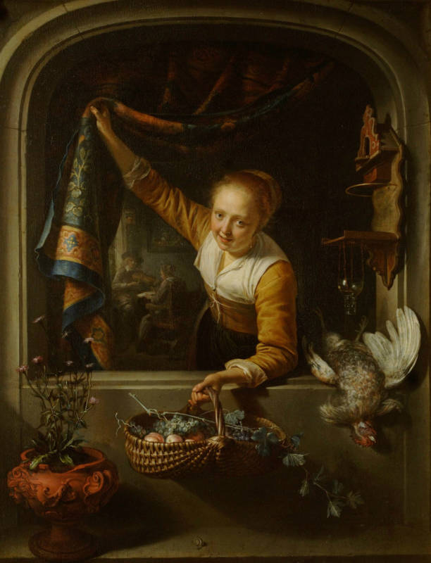 Gerrit Dou, A Girl with a Basket of Fruit at a Window, 1657; oil on panel