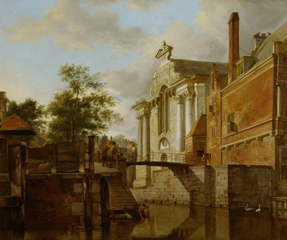 Jan van der Heyden, A Canal Junction, near a Church, c 1670; oil on panel