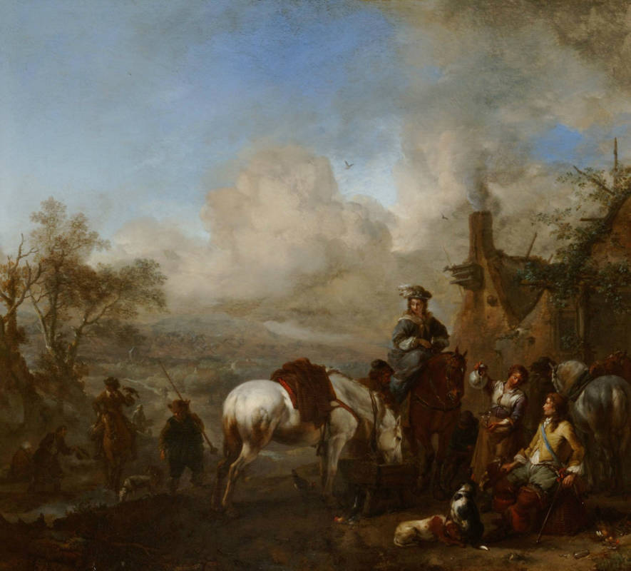 Philips Wouwerman, A Hawking Party Resting outside an Inn, 1655-1657; oil on panel