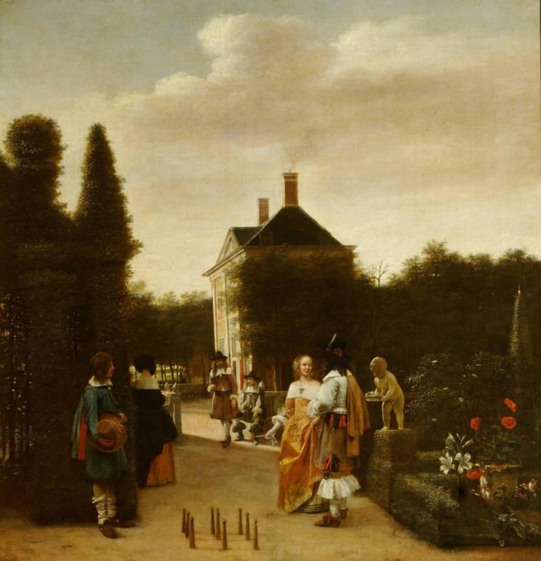 Pieter de Hooch, A Game of Ninepins, c 1665; oil on canvas