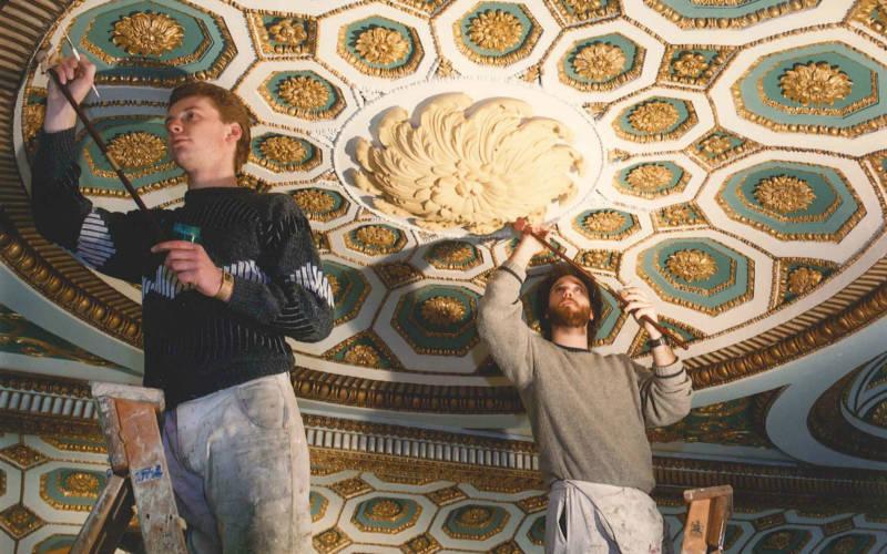 Great Room ceiling restoration at Spencer House