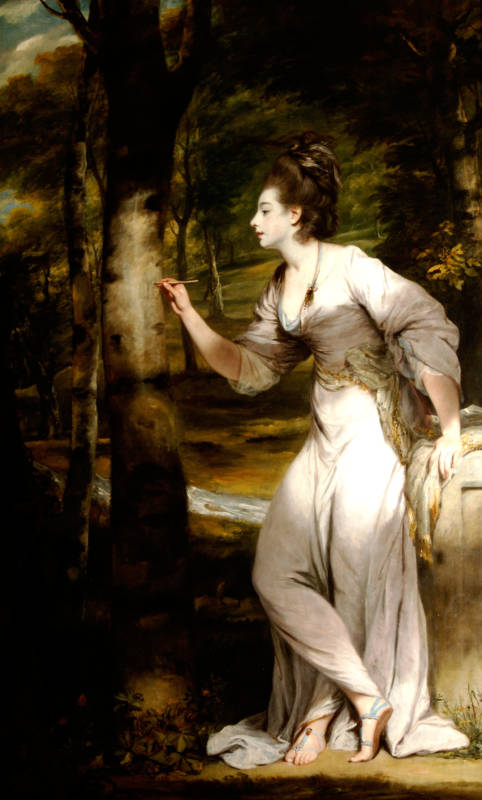 Mrs Lloyd inscribing her name on a tree demonstrates Reynolds's ability to manipulate light. As seen in the shadows that dapple her skin and clothes (1758)