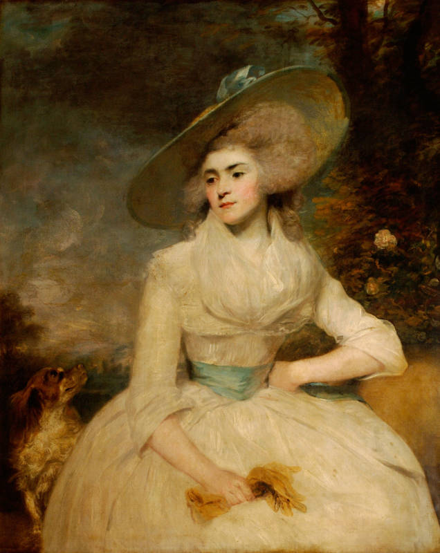 Emma Assheton-Smith, Mrs Robert Scott of Danesfield. The colours of Mrs Scott's body and clothing are repeated in the freely painted sky behind (1834)
