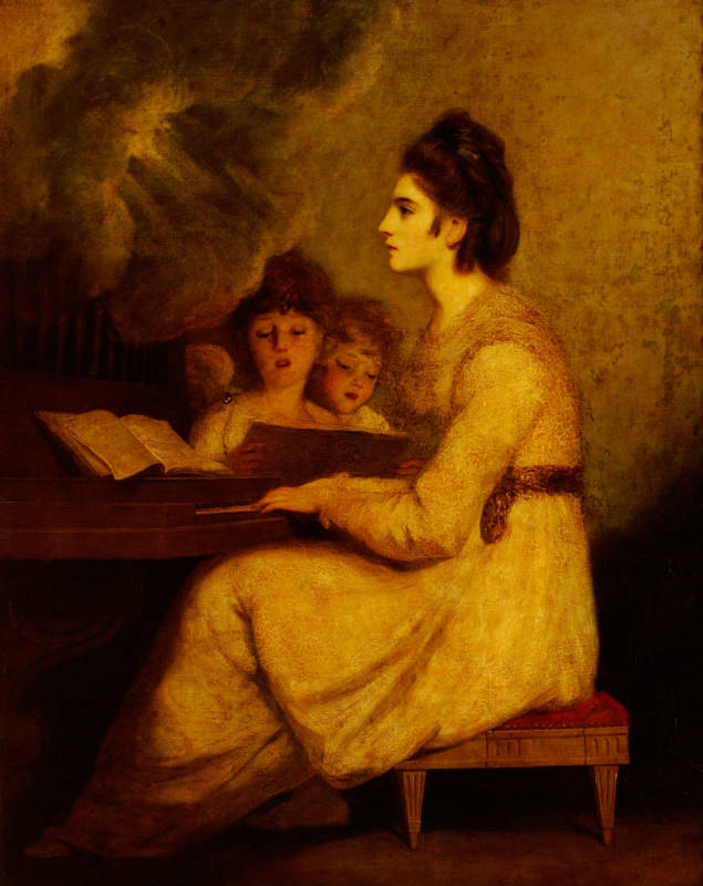 Elizabeth Linley, Mrs Brinsley Sheridan, was considered to have one of the loveliest voices in Britain and is here presented by Reynolds as Saint Cecilia (1775)