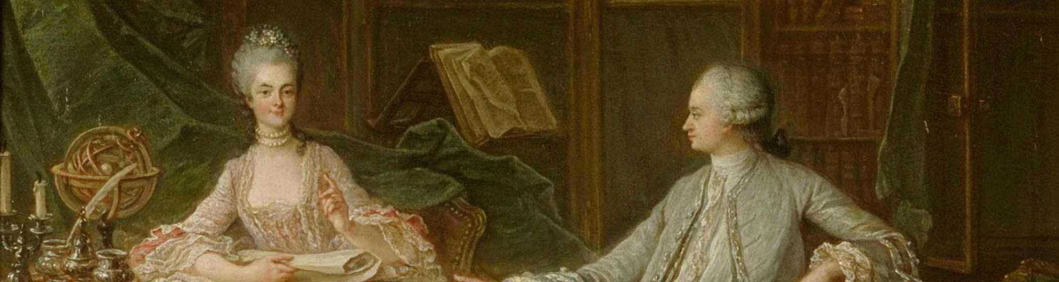 A Young Man and a Woman Discussing the Sciences in a Library by François Guérin