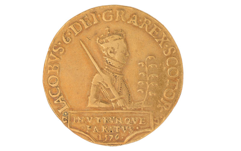 A James VI twenty pound piece 1576