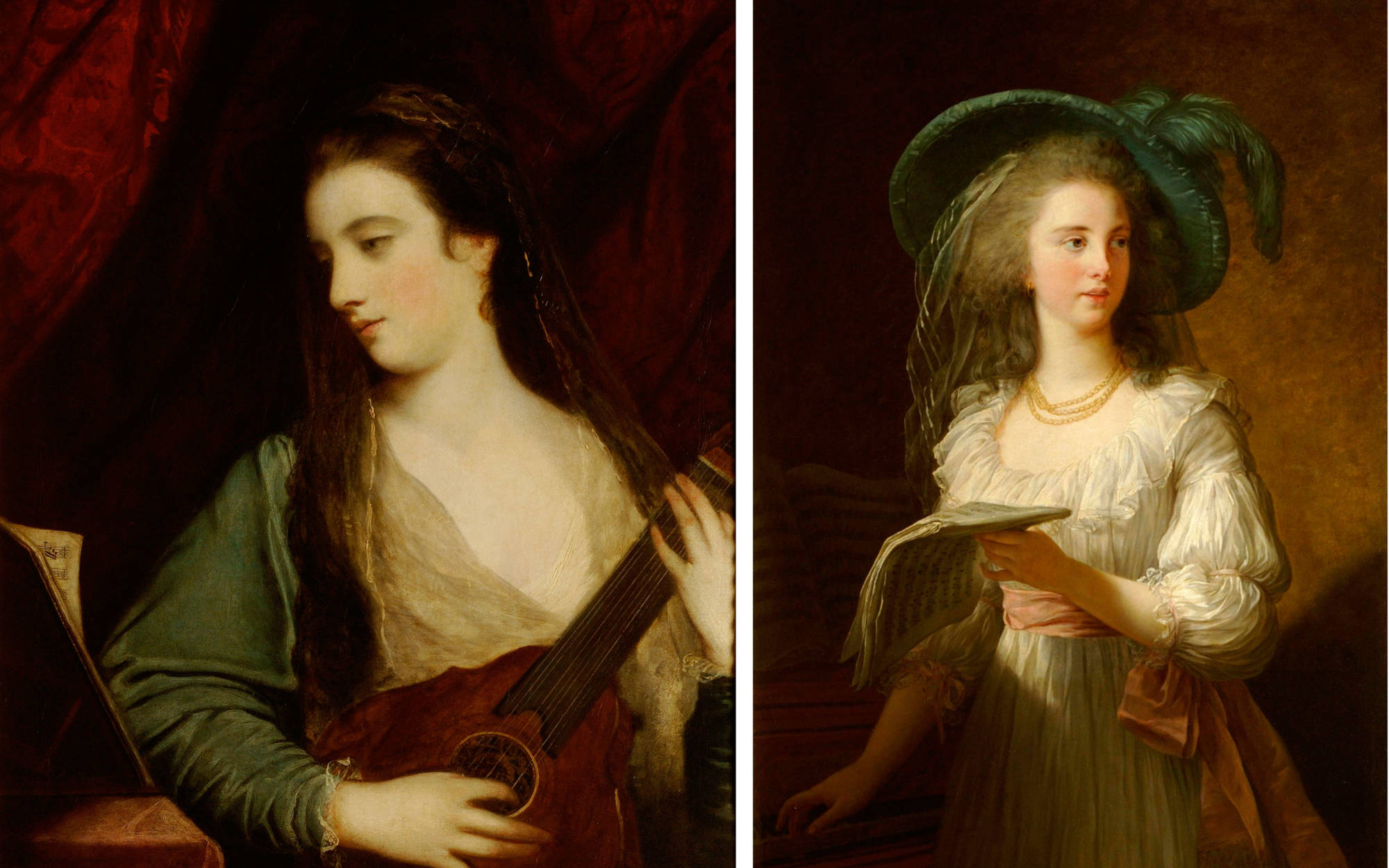 Captured in a musical moment, Reynolds's Miss Fordyce (1762-1763) (on the left) makes an interesting comparison with Elizabeth Vigée-Lebrun's, Duchesse de Polignac (1783).