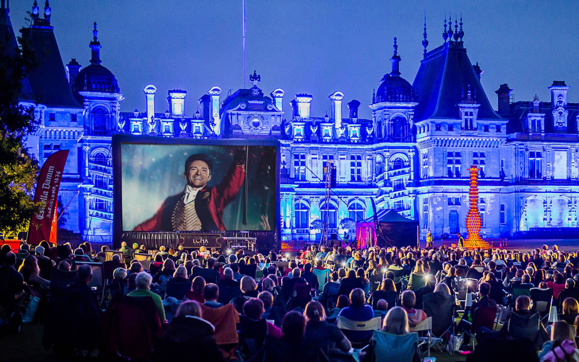 Open air cinema showing The Greatest Showman
