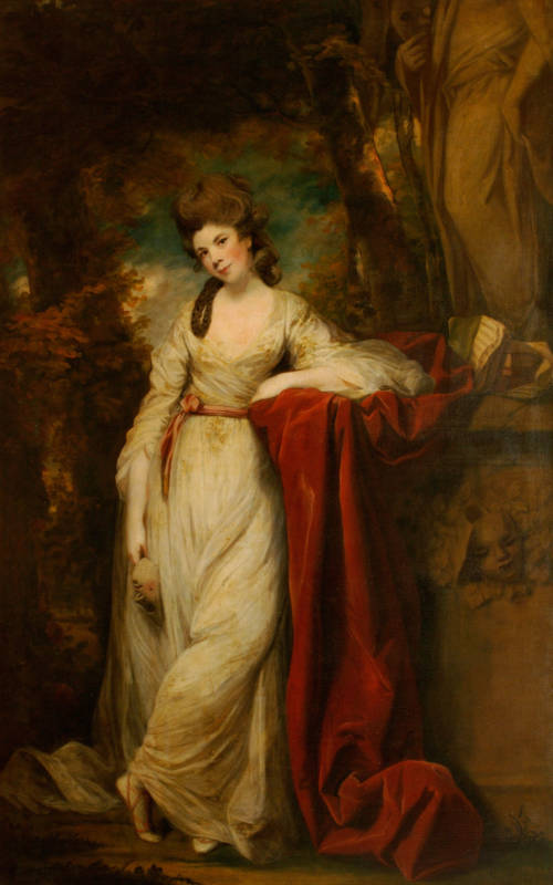 Joshua Reynolds's Mrs Abington as The Comic Muse. Both the sitter's hair and dress were repainted by Reynolds (1772-1773)