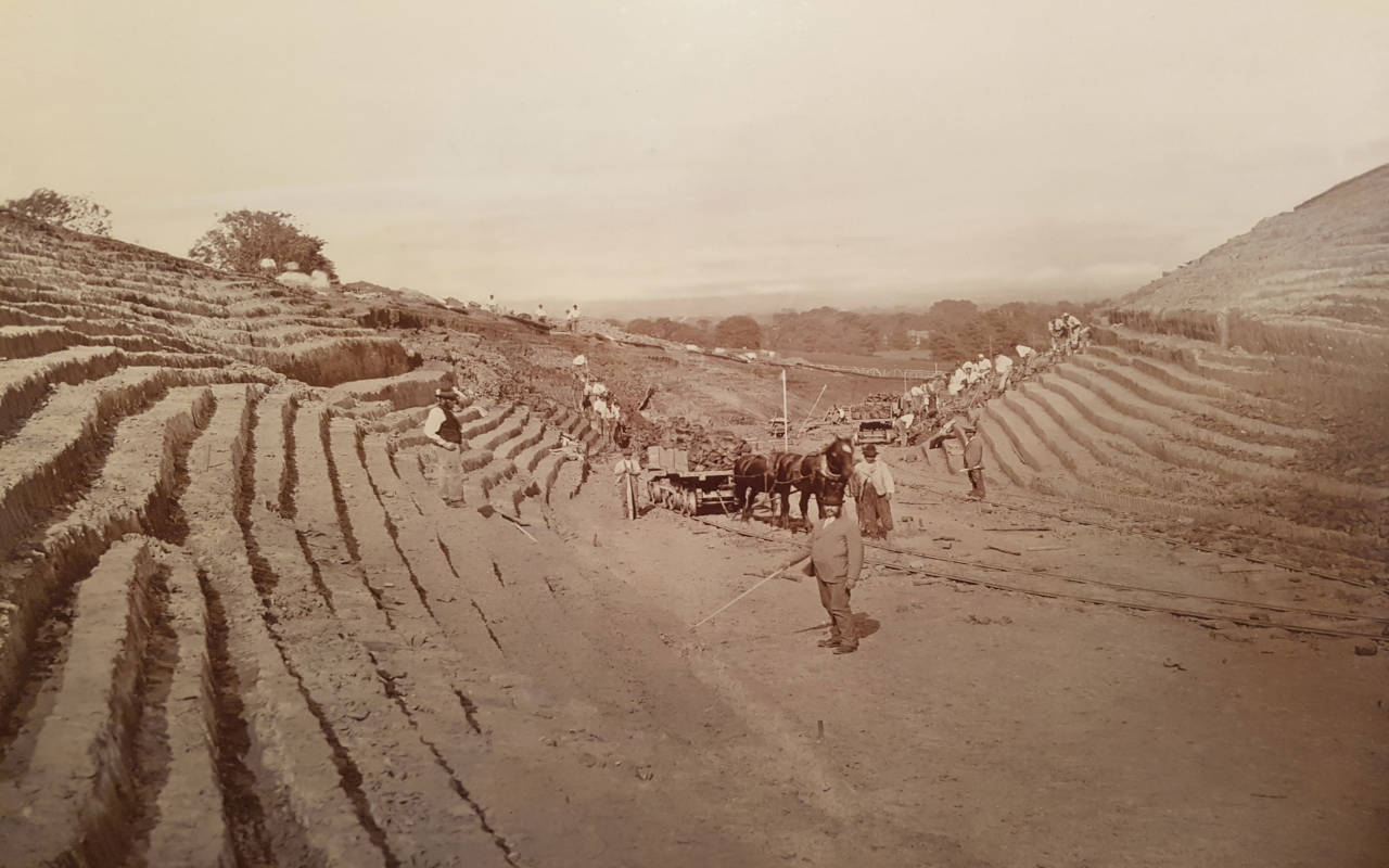 Waddesdon during construction in 1874 as a 'bare hill'