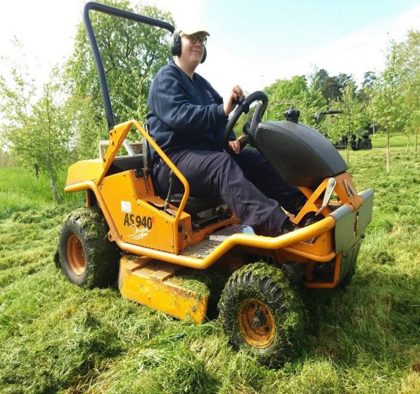 Here I am sitting on one of our mowers which we have nicknamed 'Nigel'.