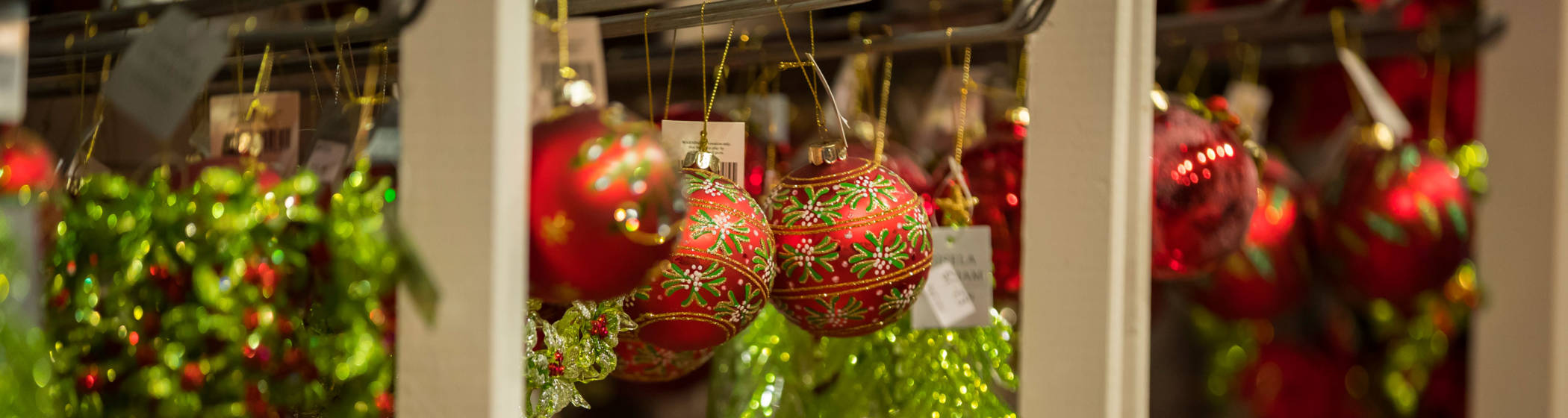 Christmas baubles in the manor shop