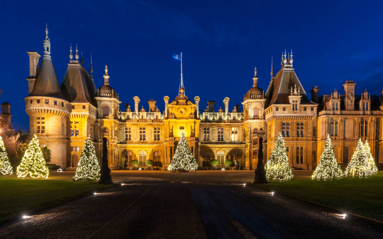 North front with illuminated christmas trees