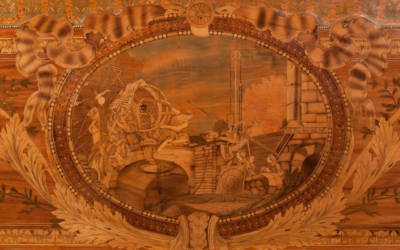 Roll-top desk decorated with marquetry images reflecting the interests of Caron de Beaumarchais and elaborate gilt-bronze mounts, 1777-1781