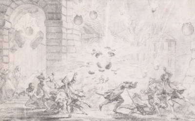 Charles-Nicolas Cochin, Design for a book illustration: the effect of bombs falling on a town, 1740-41