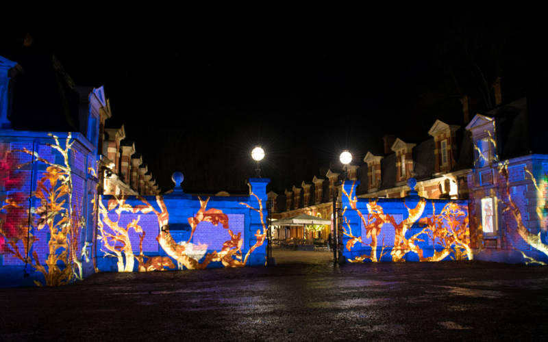 Christmas lighting projectio at the stables by guildhall school