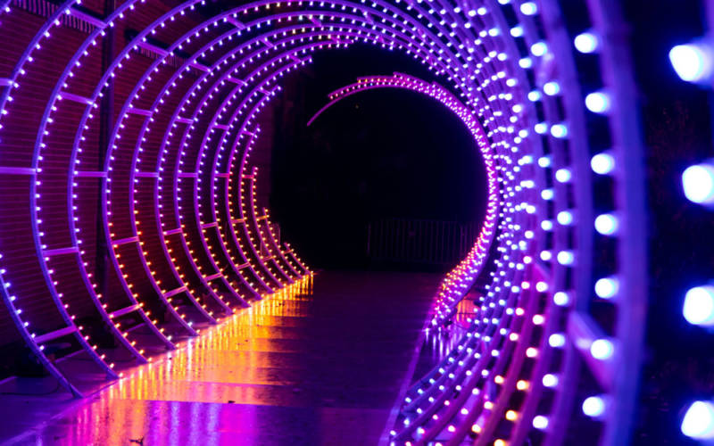 Tunnel of light at christmas
