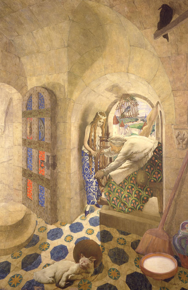 Léon Bakst, The Sleeping Beauty: The Princess Pricks her Finger on a Spinning Wheel, 1913-1922, French; oil on canvas, 2500 x 1410mm (sight); acc. no. 89.1995.3