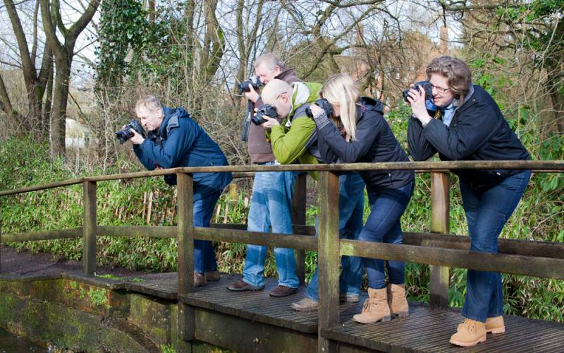 Group of adults taking photographs of the landscape