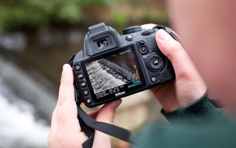 Close up view of a digital camera
