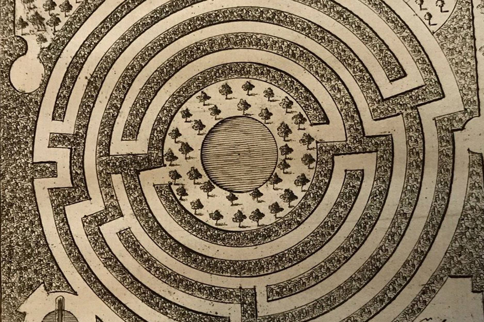 Maze design from the New Principles of Gardening by Batty Langley, published in 1728