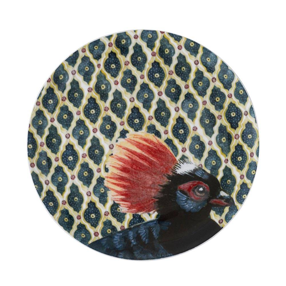 Large plate with exotic birds design
