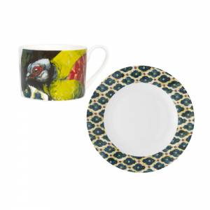 Tea cup and saucer with exotic birds design
