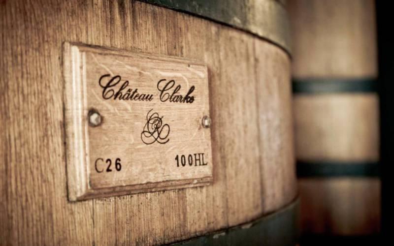 Chateu Clarke wooden barrel label