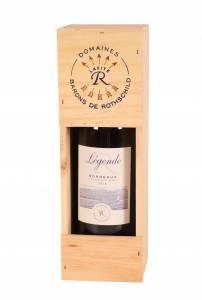 A bottle of legende bordeaux in a wooden presentation box