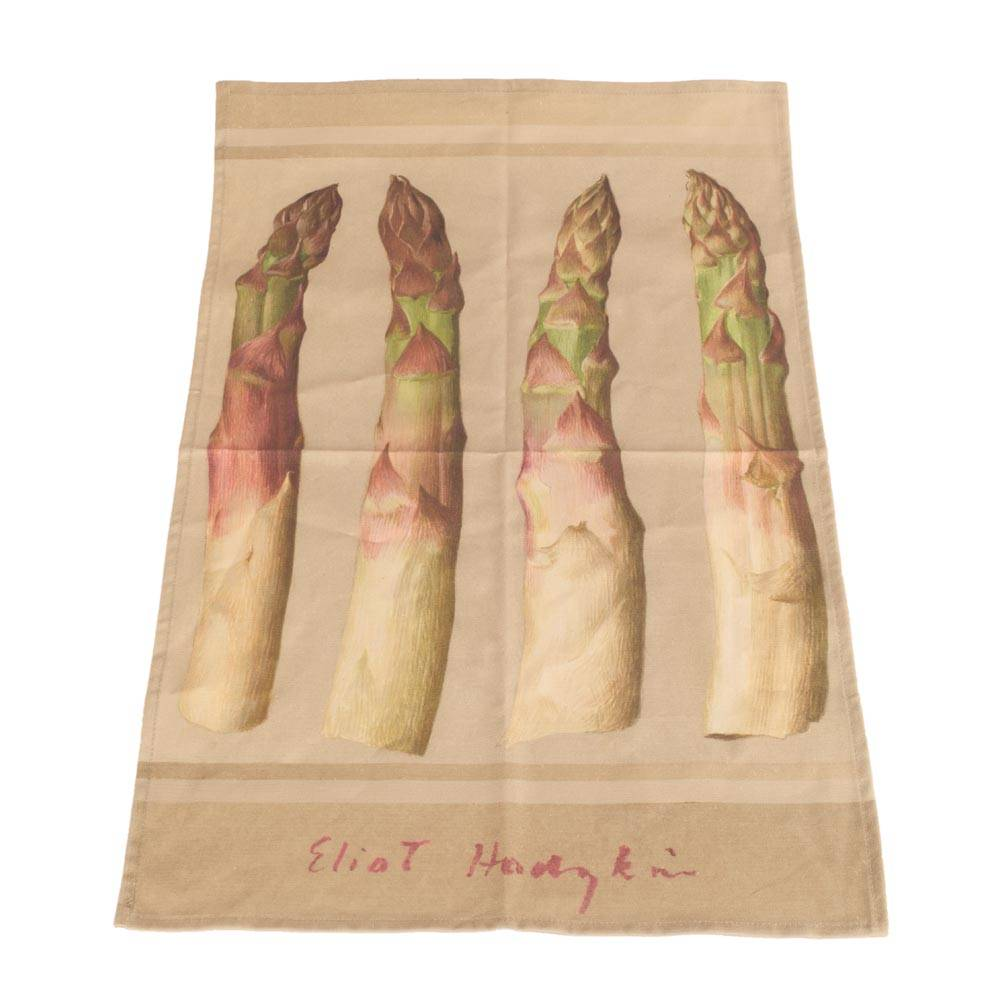 A cotton tea towel with asparagus design by Eliot Hodgkin