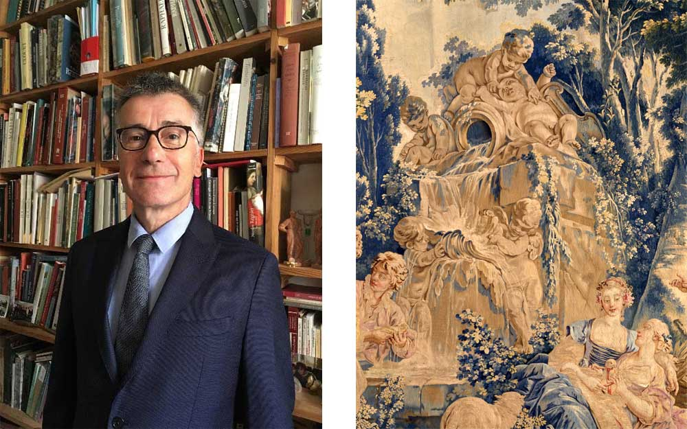 Dr Pascal Bertrand and tapestry detail