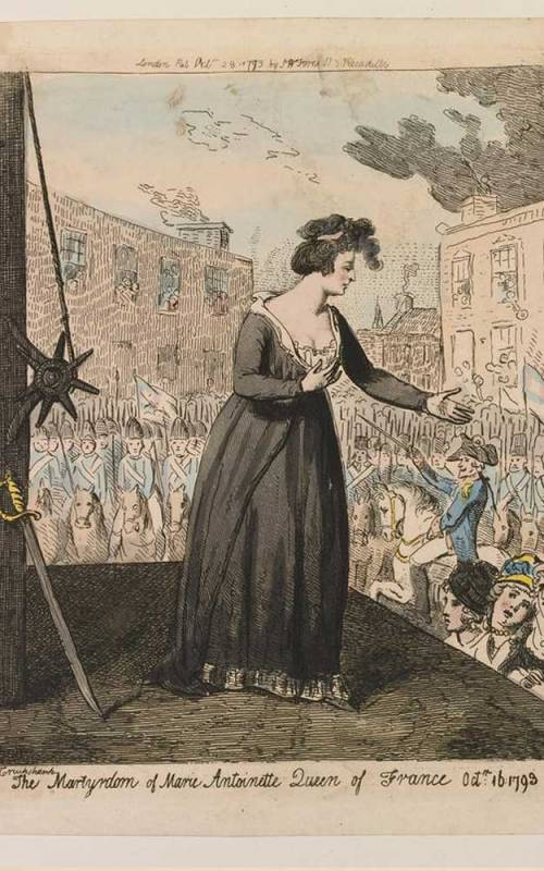 Print titled 'The Martyrdom of Marie-Antoinette'. Marie Antoinette stands on the scaffold, her head turned in profile to the right; her left arm is extended, as she addresses the crowd below.