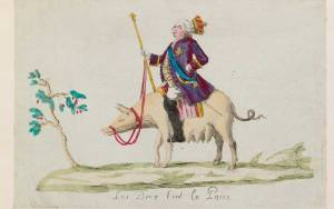 Print of Louis XVI riding a pig towards a fruit tree.