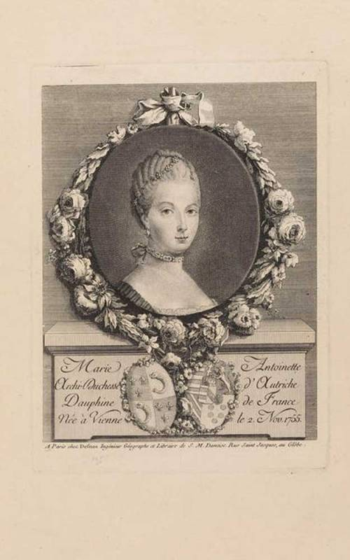 Printed etching from a Paris publication depicting a bust-portrait of Marie-Antoinette as dauphine, 1770-1774