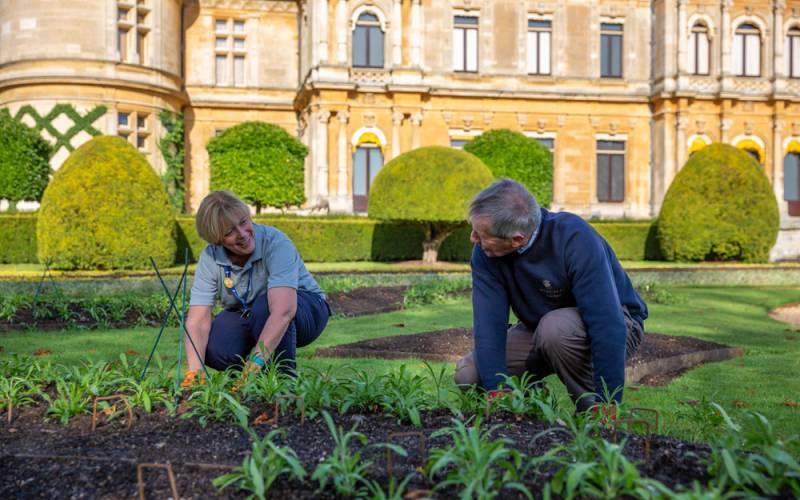 Volunteers in the gardens