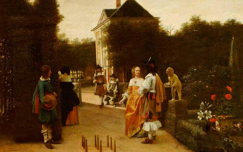 Piete de Hooch, a game of ninepins
