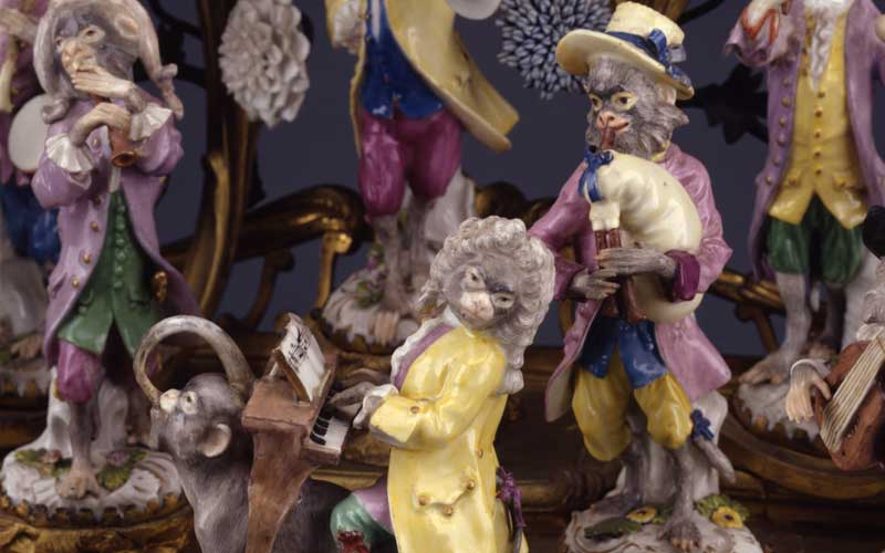 Meissen porcelain manufactory monkey band clock