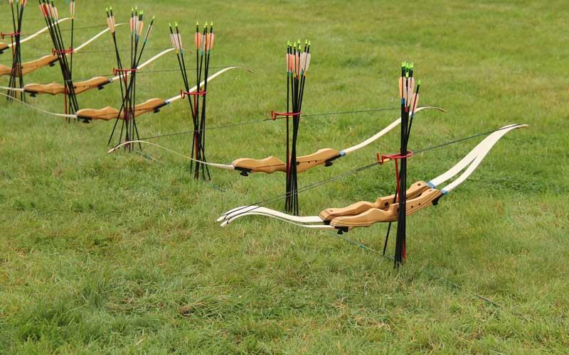 A row of archery bows