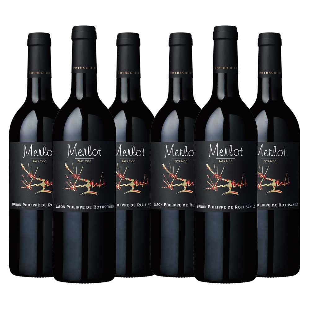 Pays d'oc merlot black label six bottle case