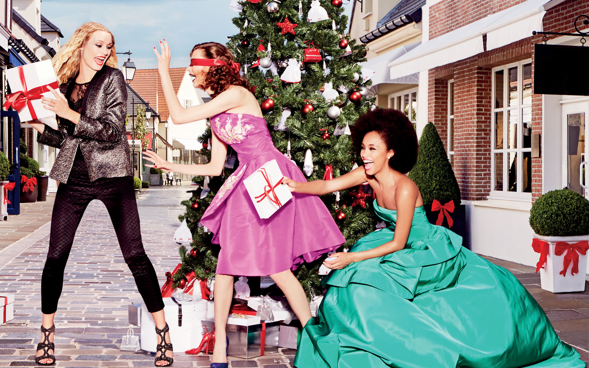 Women Christmas shopping at Bicester Village